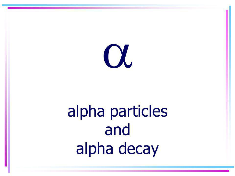 alpha particles and alpha decay