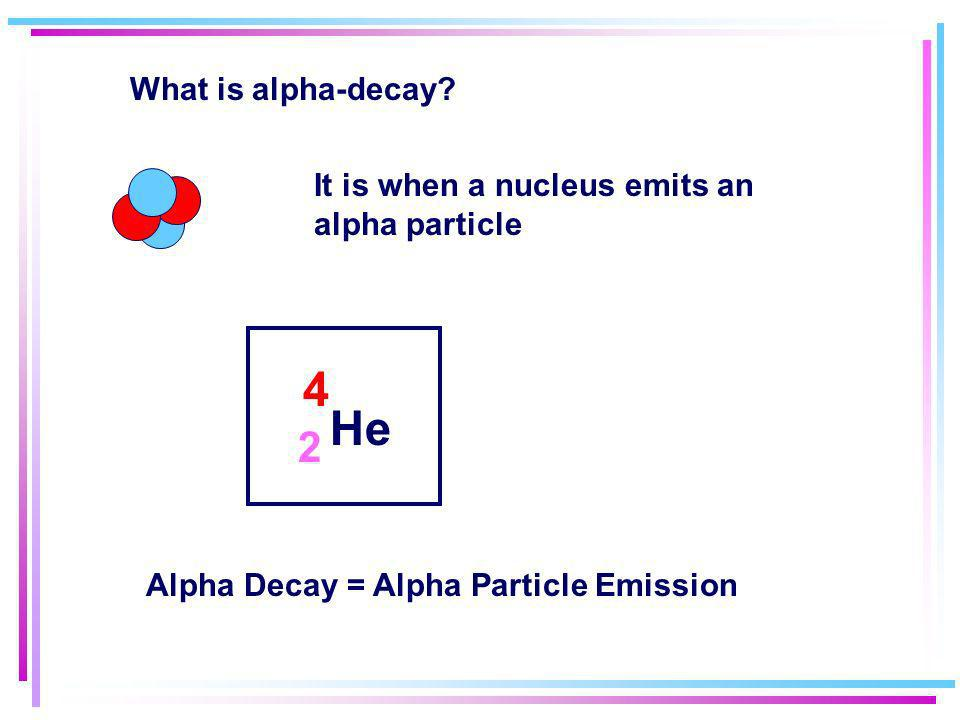 What is alpha-decay. It is when a nucleus emits an alpha particle.
