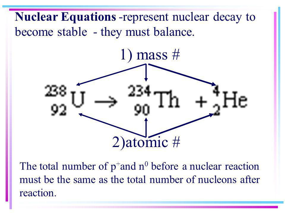 Nuclear Equations -represent nuclear decay to become stable - they must balance.