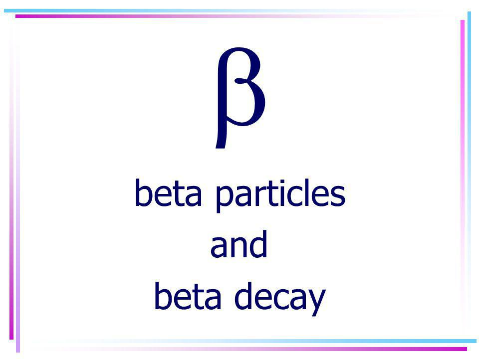 beta particles and beta decay