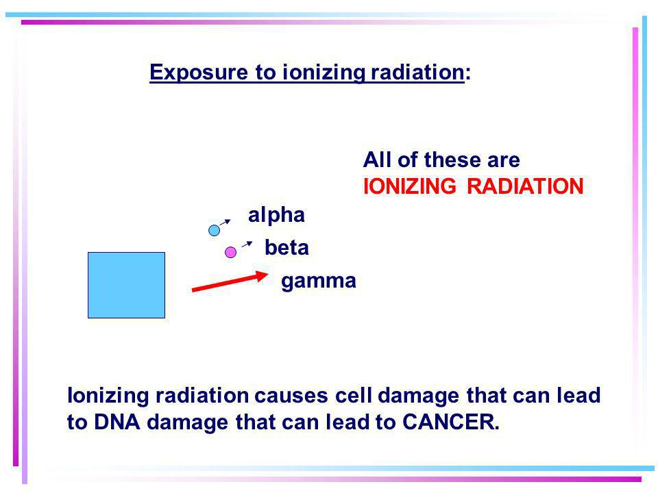 Exposure to ionizing radiation: