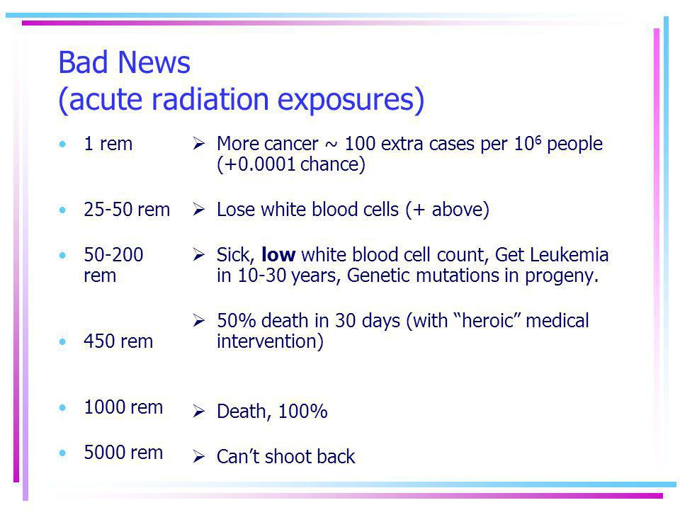 Bad News (acute radiation exposures)
