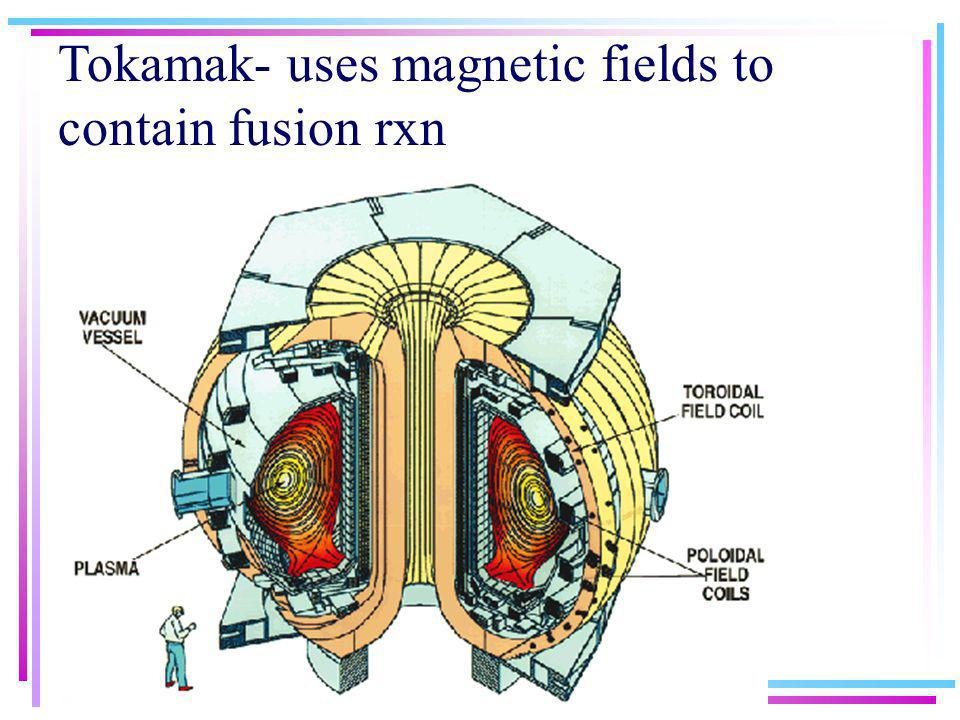 Tokamak- uses magnetic fields to contain fusion rxn