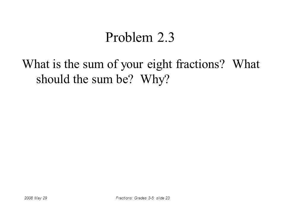 What is the sum of your eight fractions What should the sum be Why