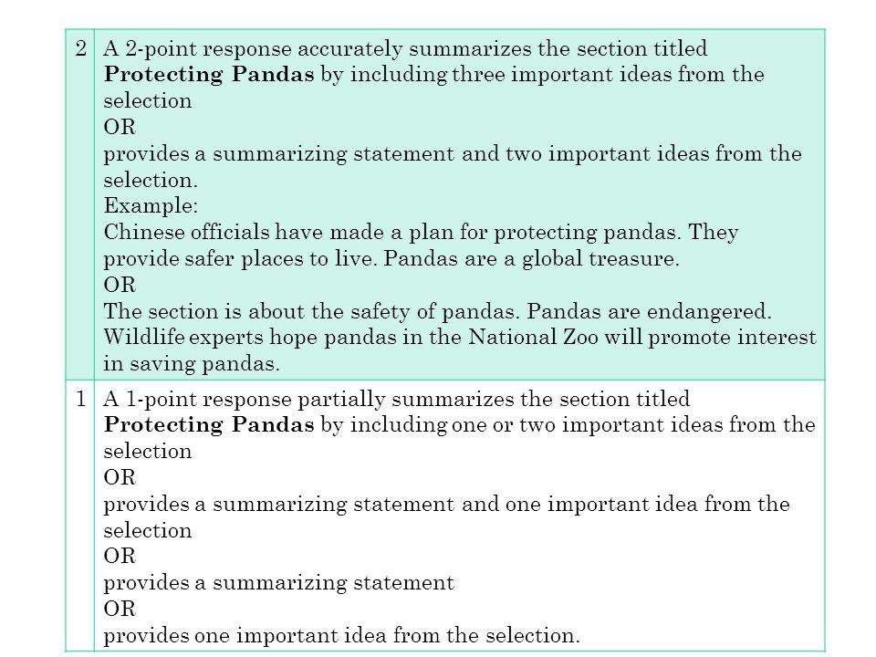 2 A 2-point response accurately summarizes the section titled Protecting Pandas by including three important ideas from the selection.