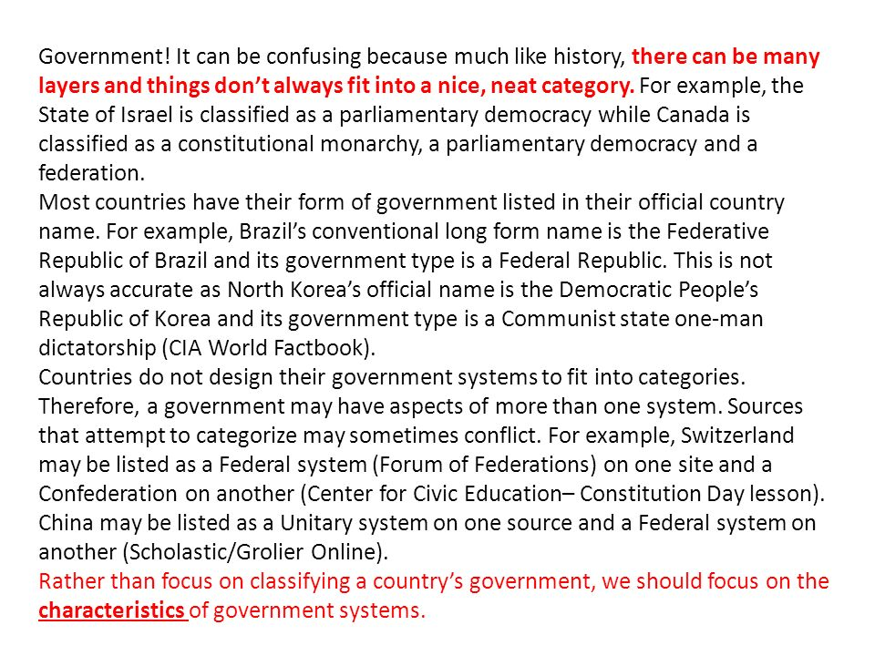 Types of Governments SS7CG4 The student will compare and contrast ...