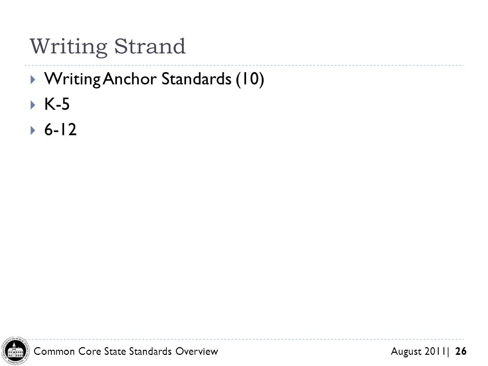 Writing Strand Writing Anchor Standards (10) K-5 6-12