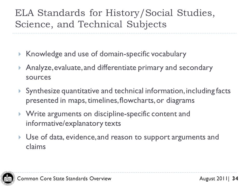 ELA Standards for History/Social Studies, Science, and Technical Subjects