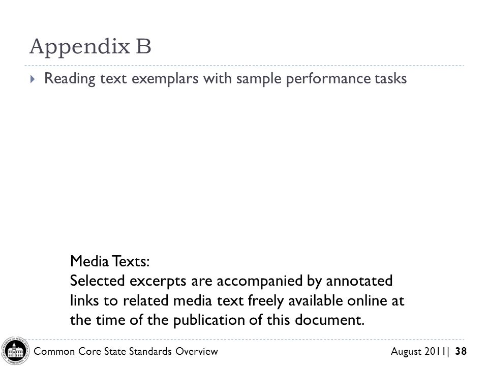 Appendix B Reading text exemplars with sample performance tasks