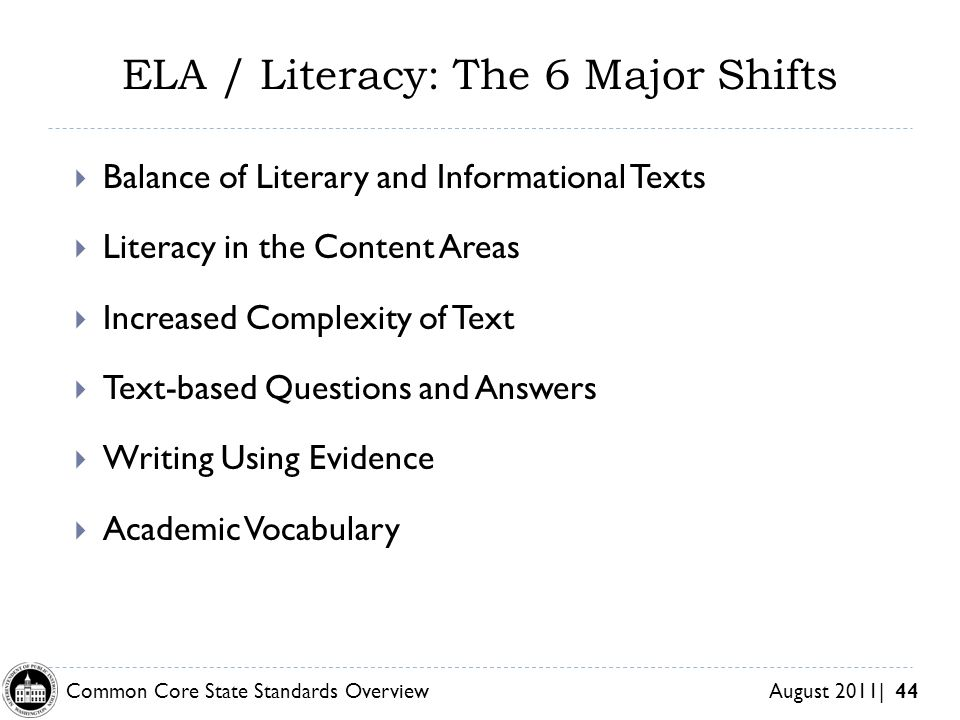 ELA / Literacy: The 6 Major Shifts