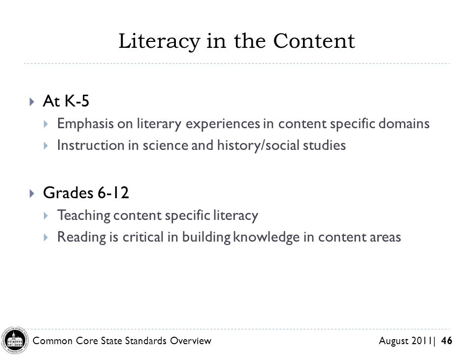 Literacy in the Content