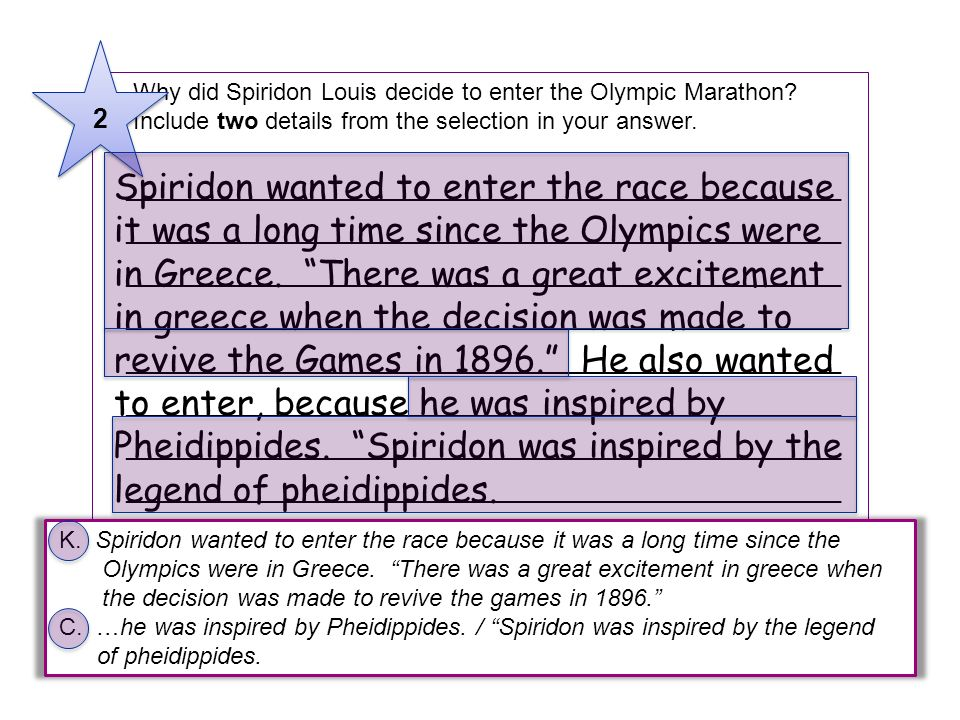 2 9 Why did Spiridon Louis decide to enter the Olympic Marathon Include two details from the selection in your answer.