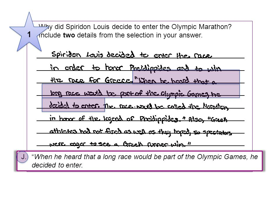 1 5 Why did Spiridon Louis decide to enter the Olympic Marathon Include two details from the selection in your answer.