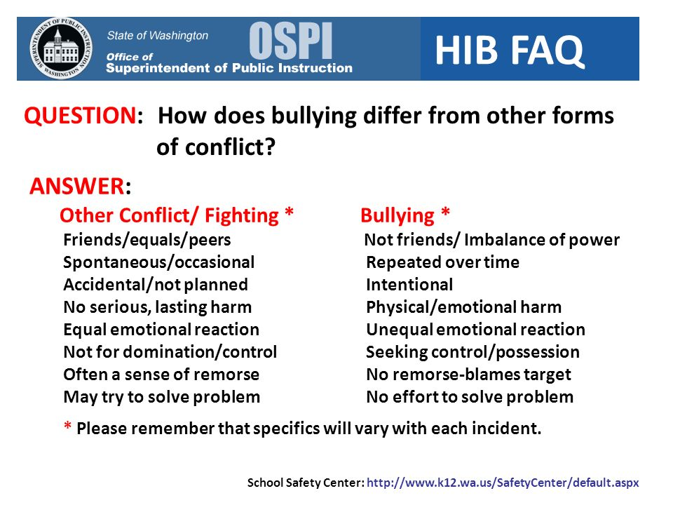 QUESTION: How does bullying differ from other forms of conflict