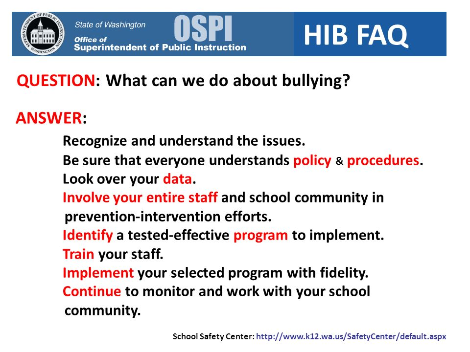 QUESTION: What can we do about bullying