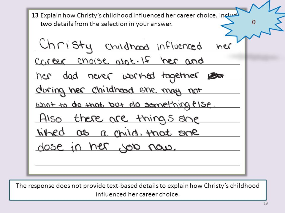 13 Explain how Christy's childhood influenced her career choice. Include two details from the selection in your answer.