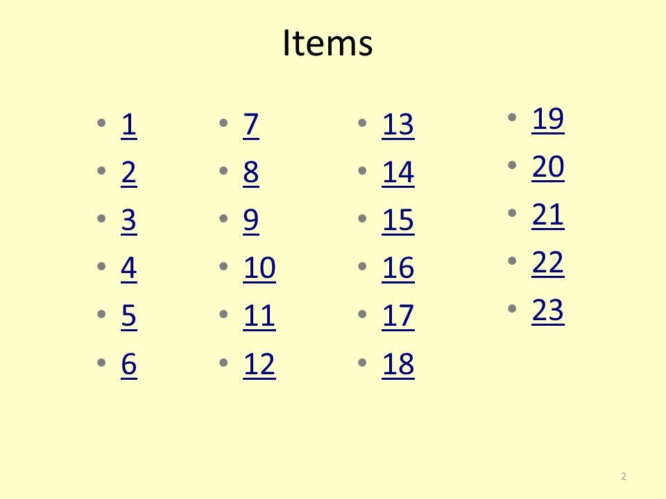 Items 19 20 21 22 23 1 2 3 4 5 6 7 8 9 10 11 12 13 14 15 16 17 18