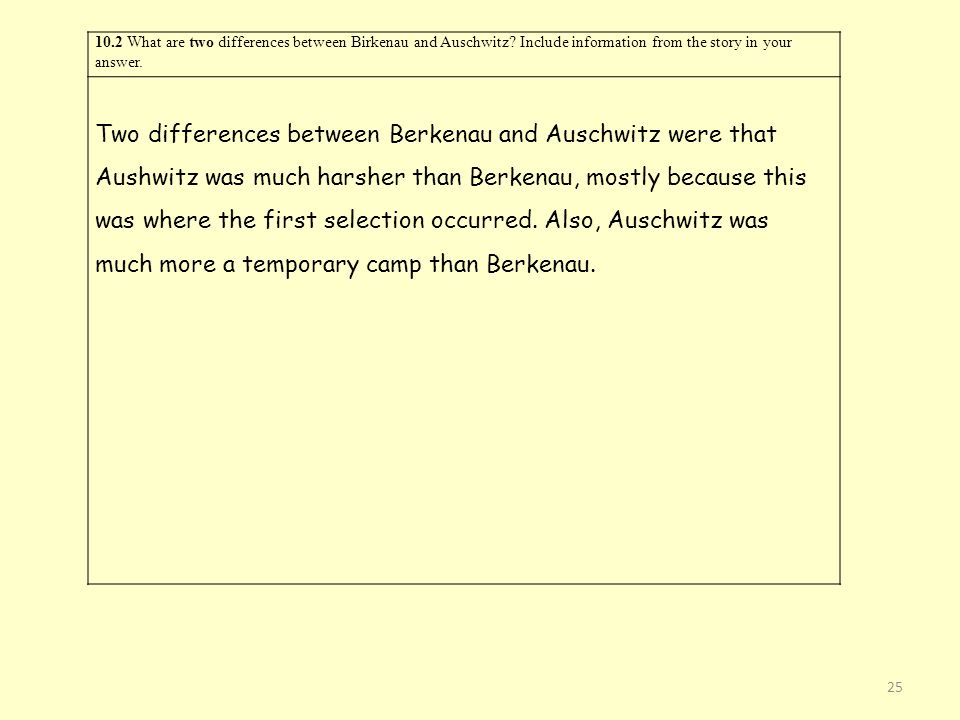 10. 2 What are two differences between Birkenau and Auschwitz