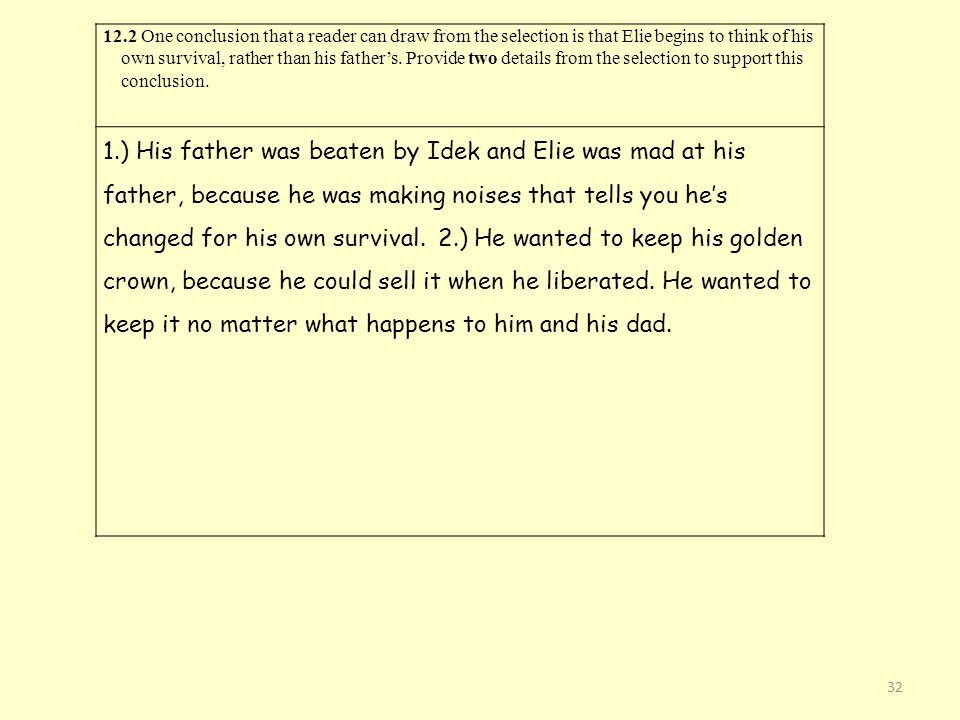 12.2 One conclusion that a reader can draw from the selection is that Elie begins to think of his own survival, rather than his father's. Provide two details from the selection to support this conclusion.