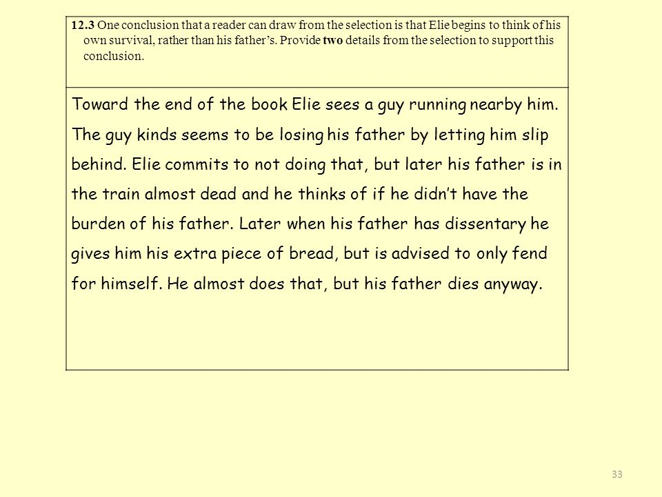 12.3 One conclusion that a reader can draw from the selection is that Elie begins to think of his own survival, rather than his father's. Provide two details from the selection to support this conclusion.