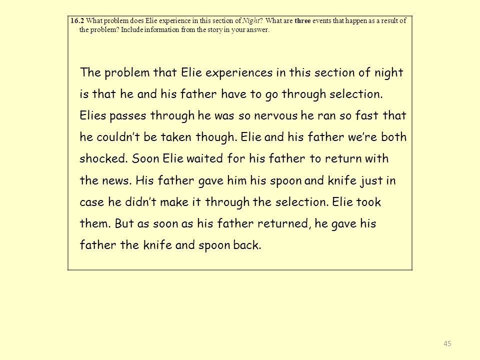 16. 2 What problem does Elie experience in this section of Night