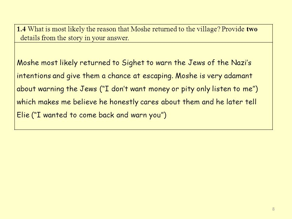 1. 4 What is most likely the reason that Moshe returned to the village