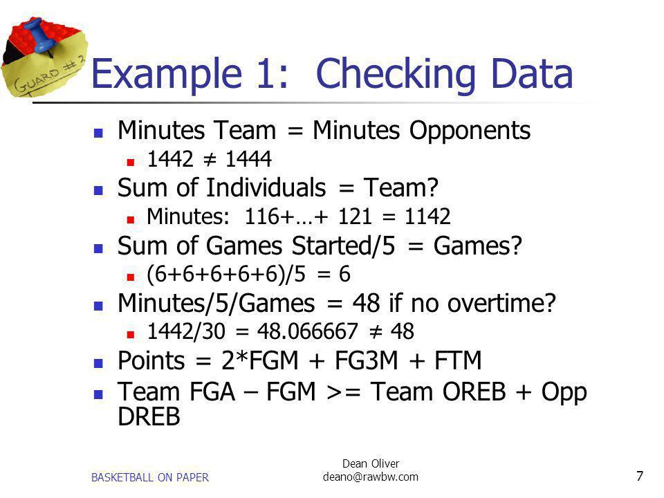 Example 1: Checking Data