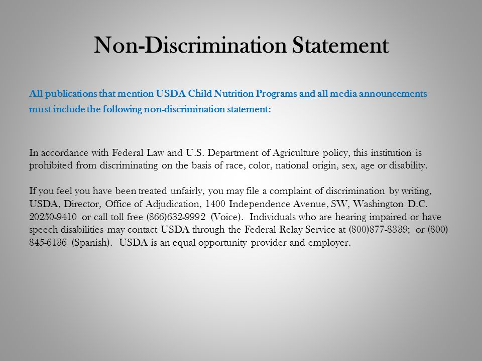 Non-Discrimination Statement