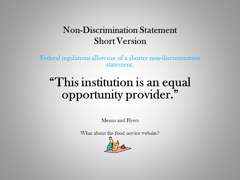 Non-Discrimination Statement Short Version