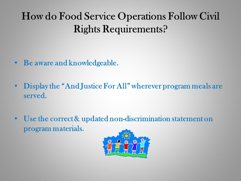 How do Food Service Operations Follow Civil Rights Requirements