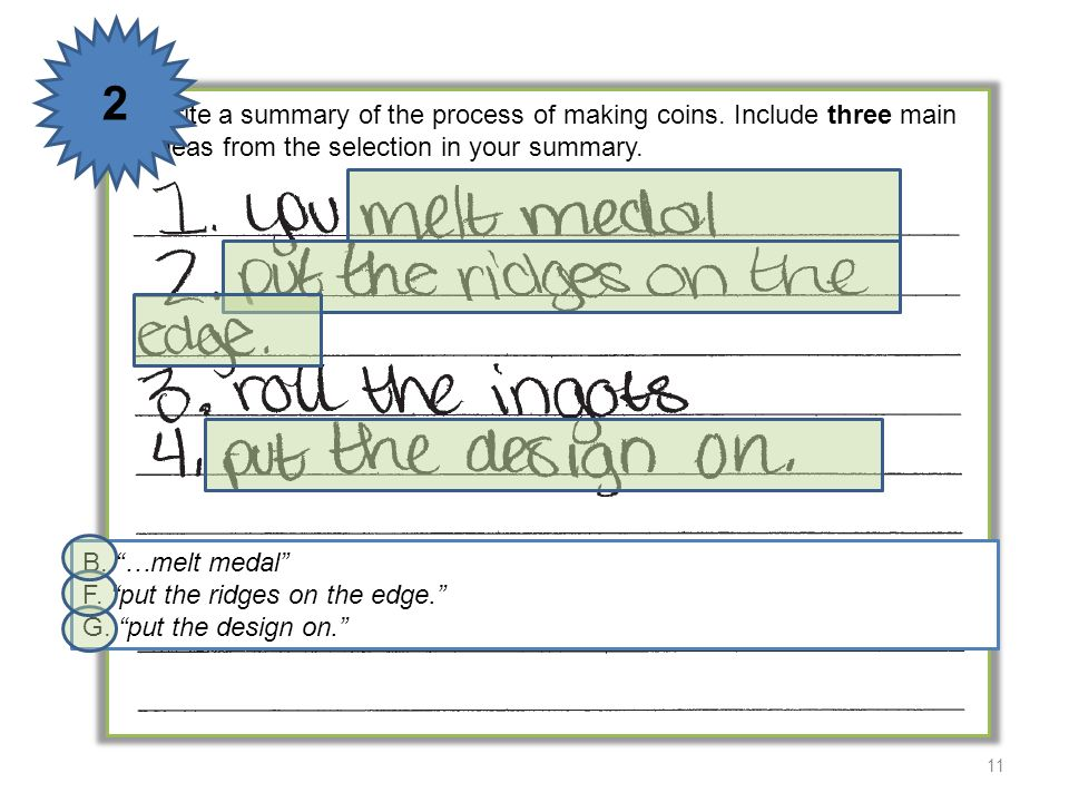 2 5 Write a summary of the process of making coins. Include three main ideas from the selection in your summary.