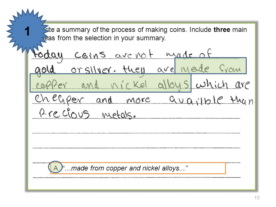 1 5 Write a summary of the process of making coins. Include three main ideas from the selection in your summary.