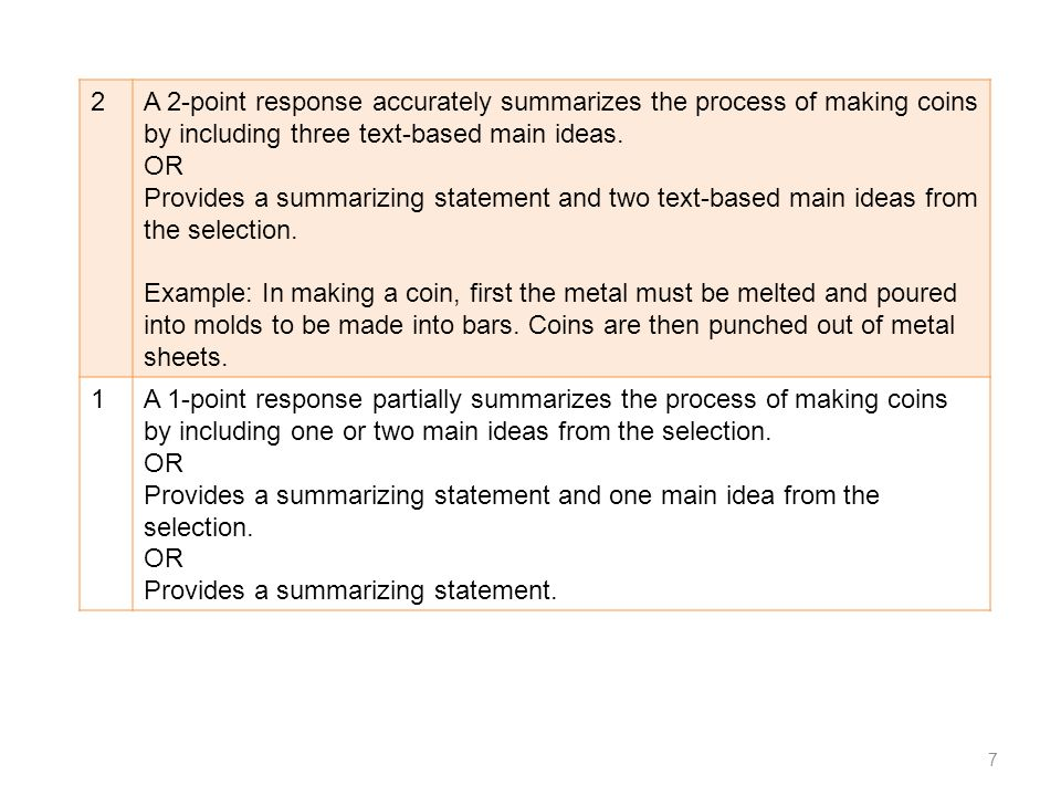 2 A 2-point response accurately summarizes the process of making coins by including three text-based main ideas.