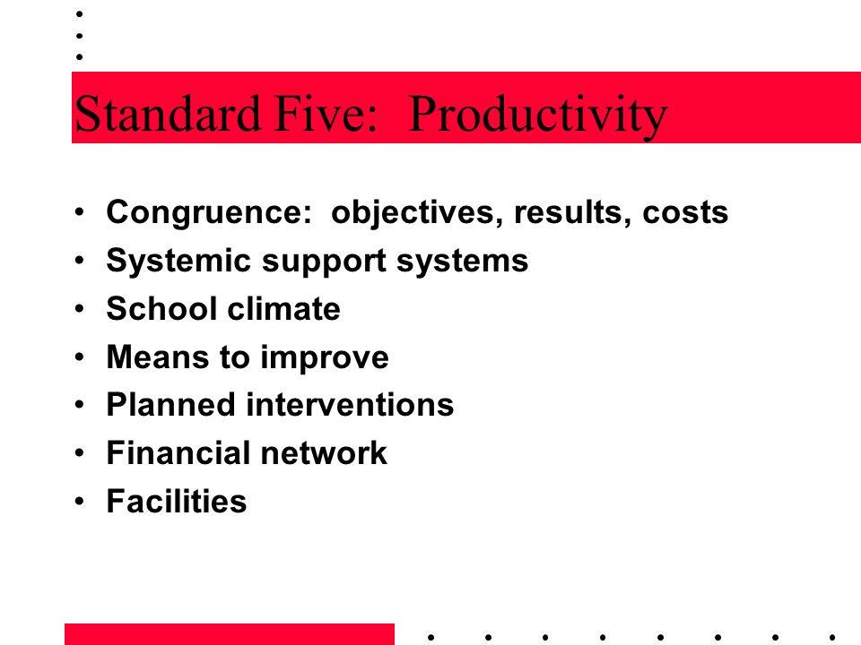 Standard Five: Productivity