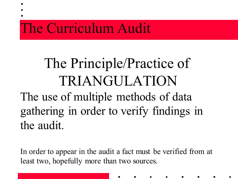 The Curriculum Audit. The Principle/Practice of