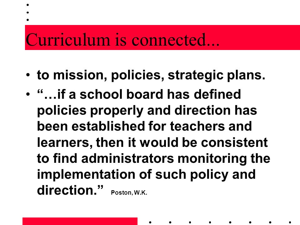 Curriculum is connected...