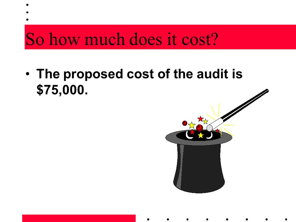 So how much does it cost The proposed cost of the audit is $75,000.