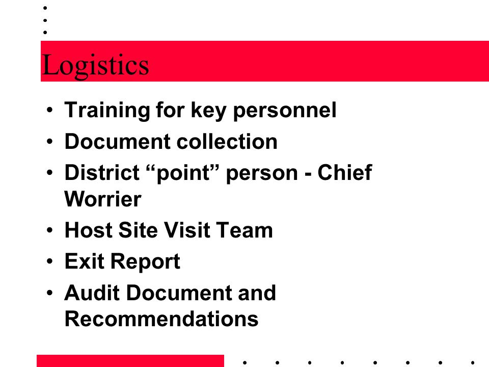 Logistics Training for key personnel Document collection