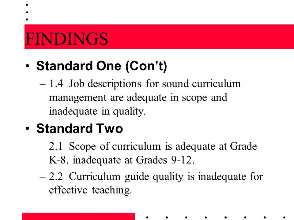 FINDINGS Standard One (Con't) Standard Two