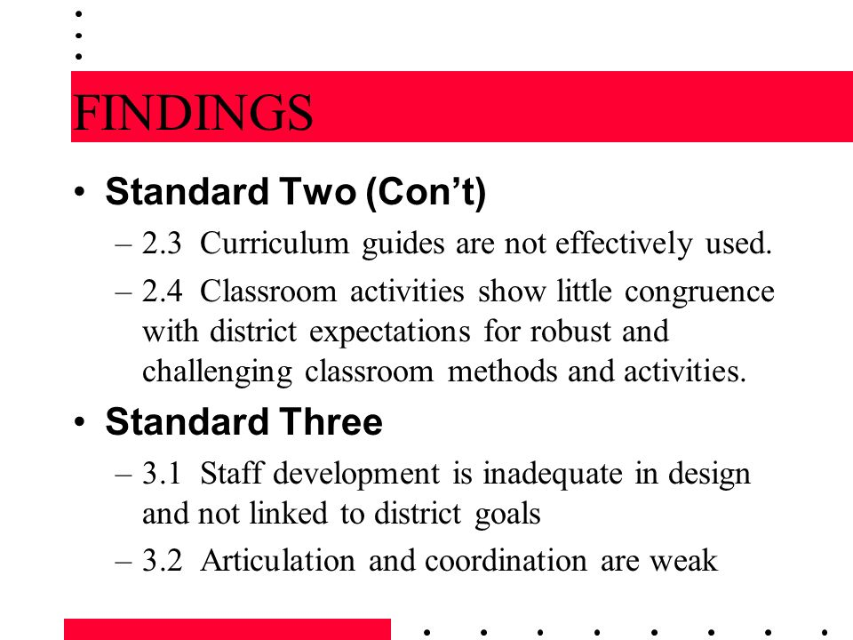 FINDINGS Standard Two (Con't) Standard Three