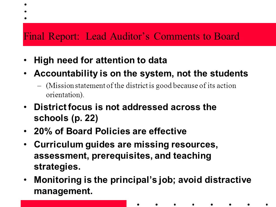 Final Report: Lead Auditor's Comments to Board
