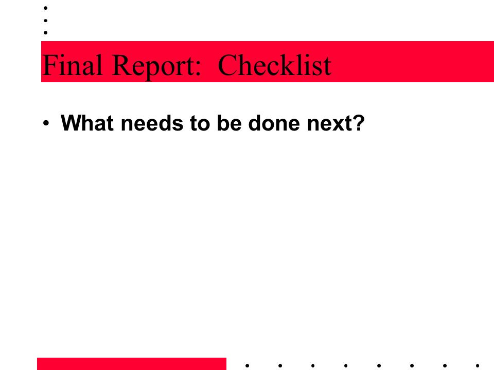 Final Report: Checklist
