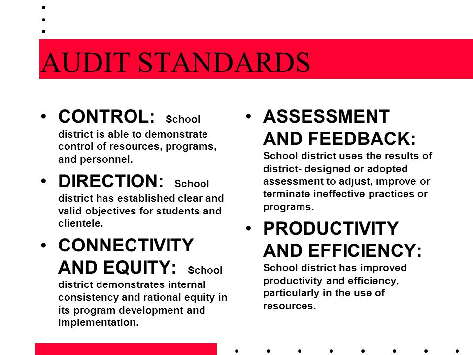 AUDIT STANDARDS CONTROL: School district is able to demonstrate control of resources, programs, and personnel.