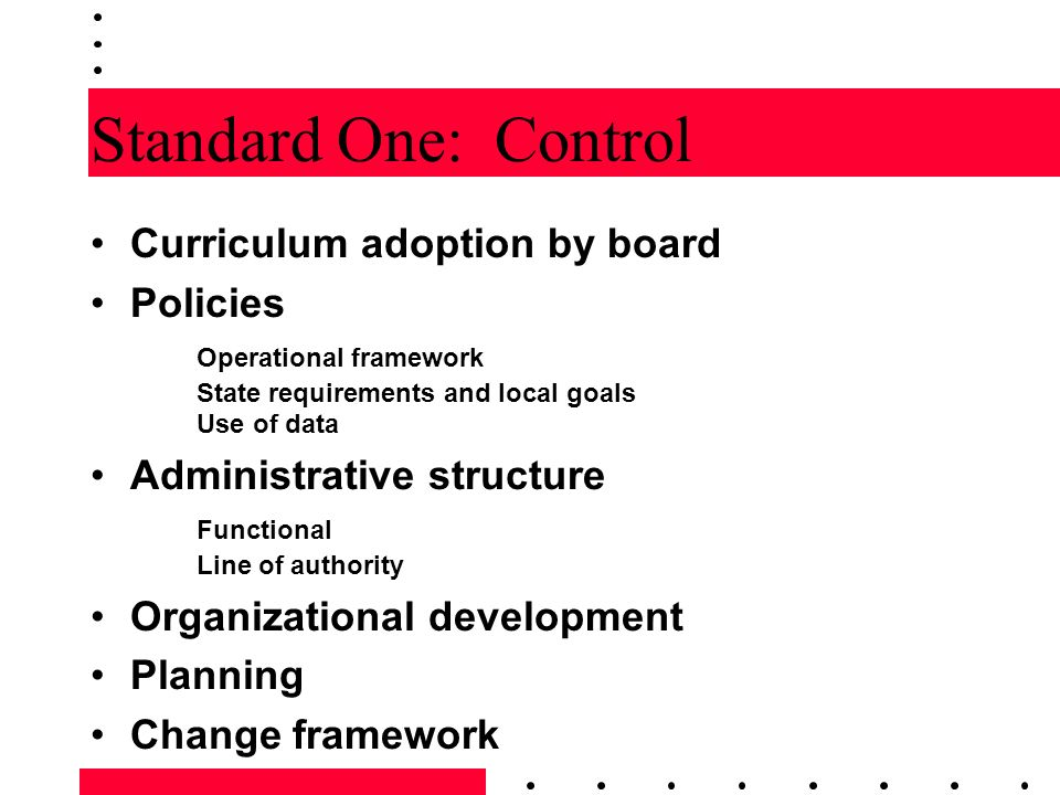 Standard One: Control Curriculum adoption by board