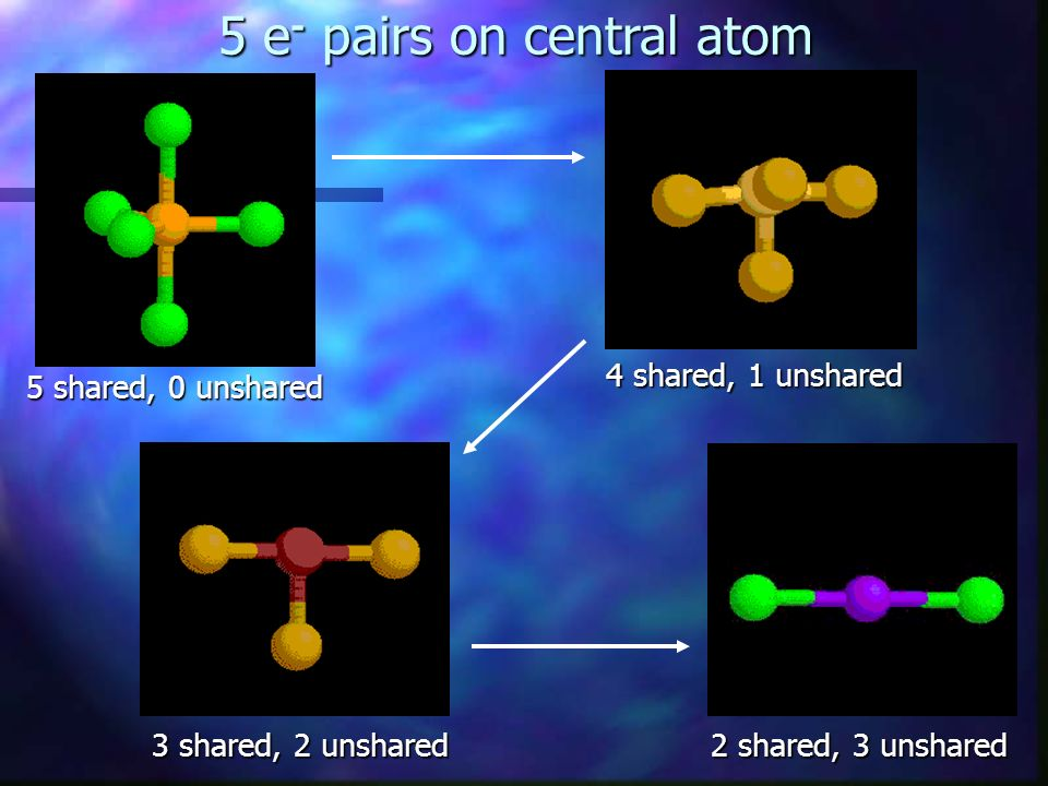5 e- pairs on central atom