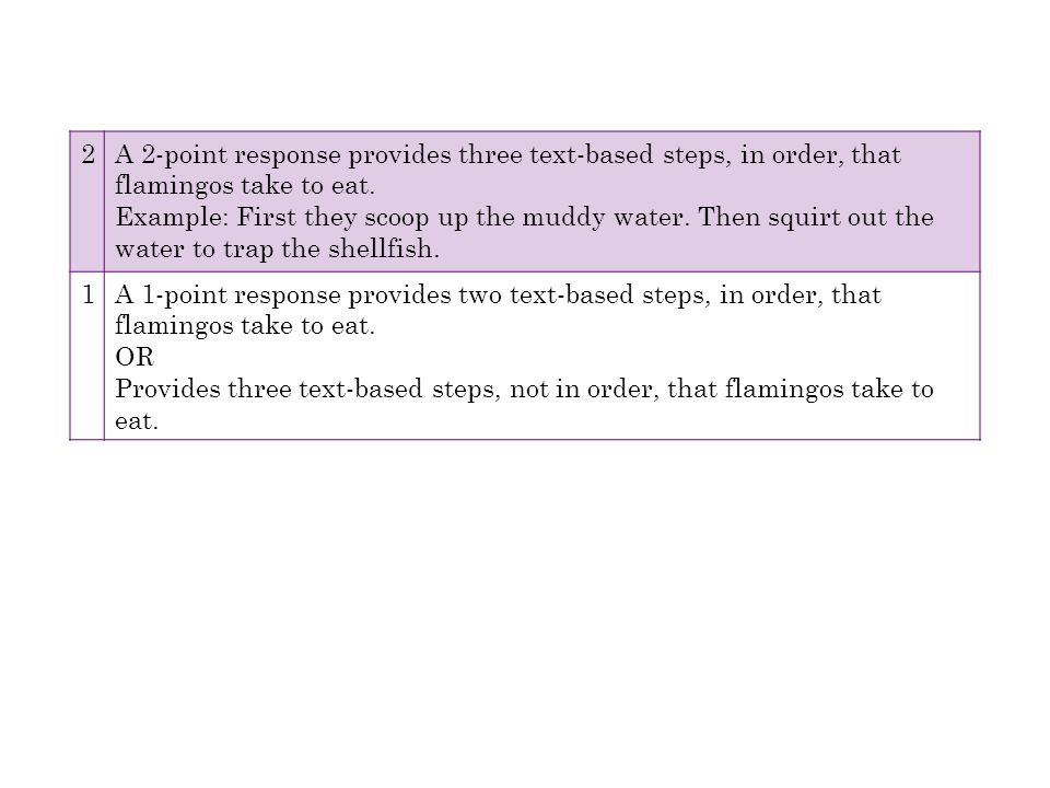 2 A 2-point response provides three text-based steps, in order, that flamingos take to eat.