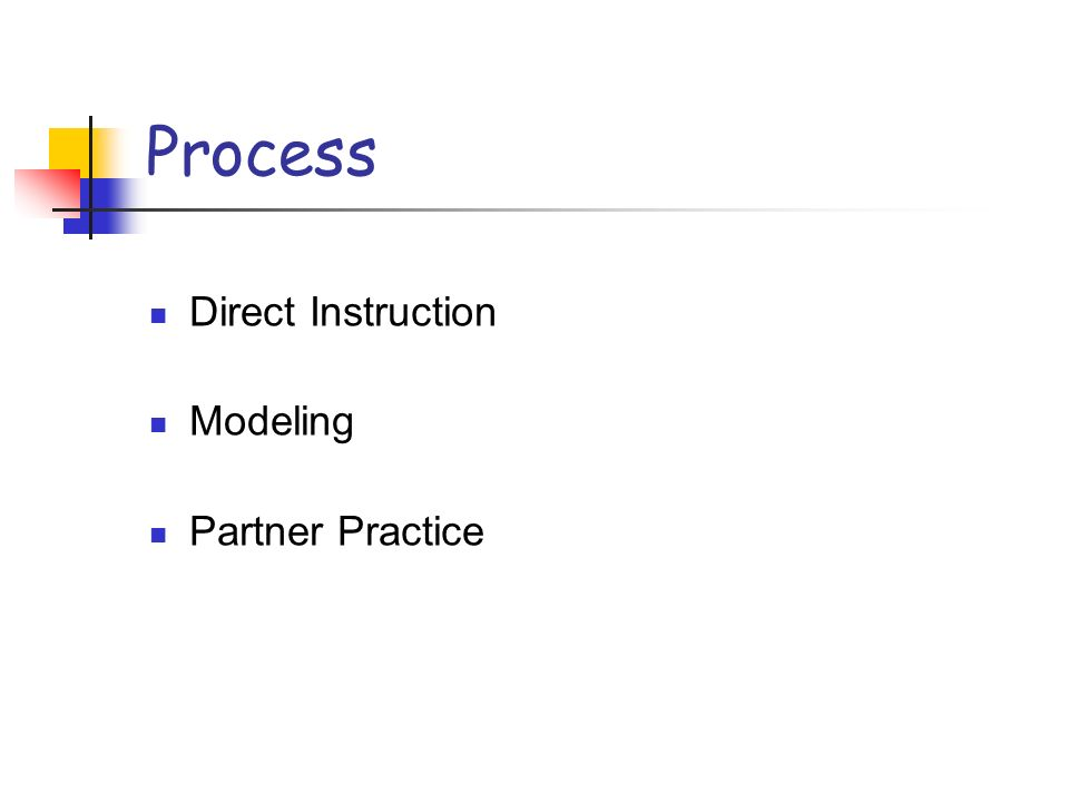 Process Direct Instruction Modeling Partner Practice