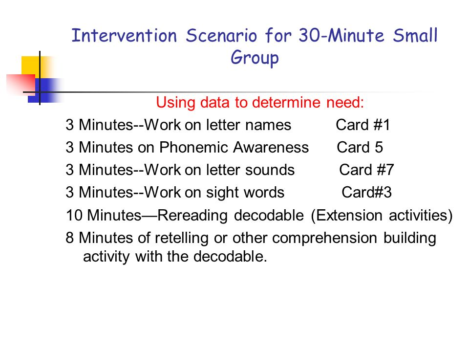 Intervention Scenario for 30-Minute Small Group