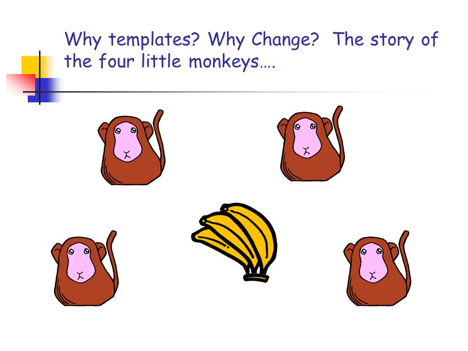 Why templates Why Change The story of the four little monkeys….