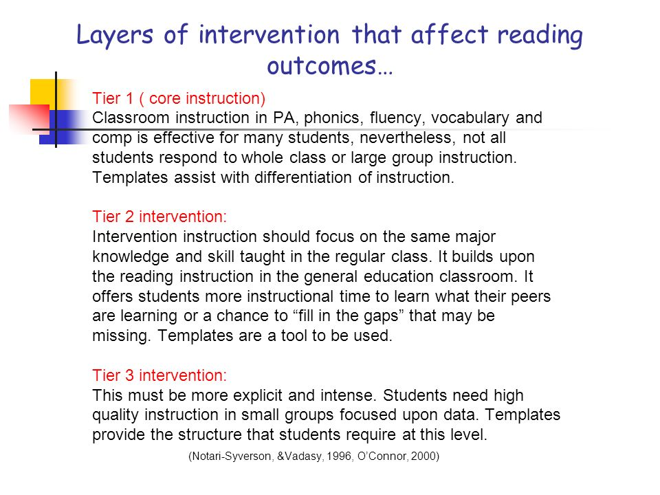 Layers of intervention that affect reading outcomes…
